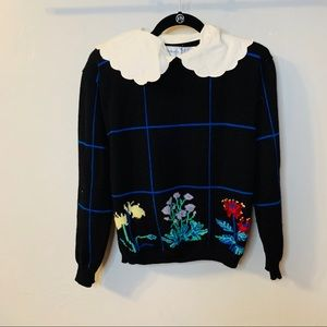 Totally 80's Peter Pan Collar Floral Check Sweater